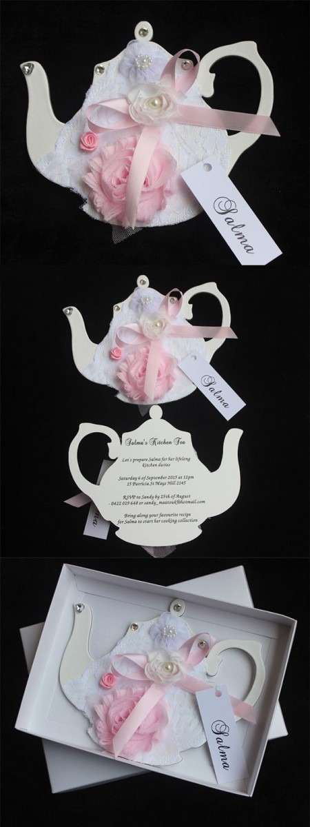 Handmade Tea Party Invitations Cards, Boxed Invitations
