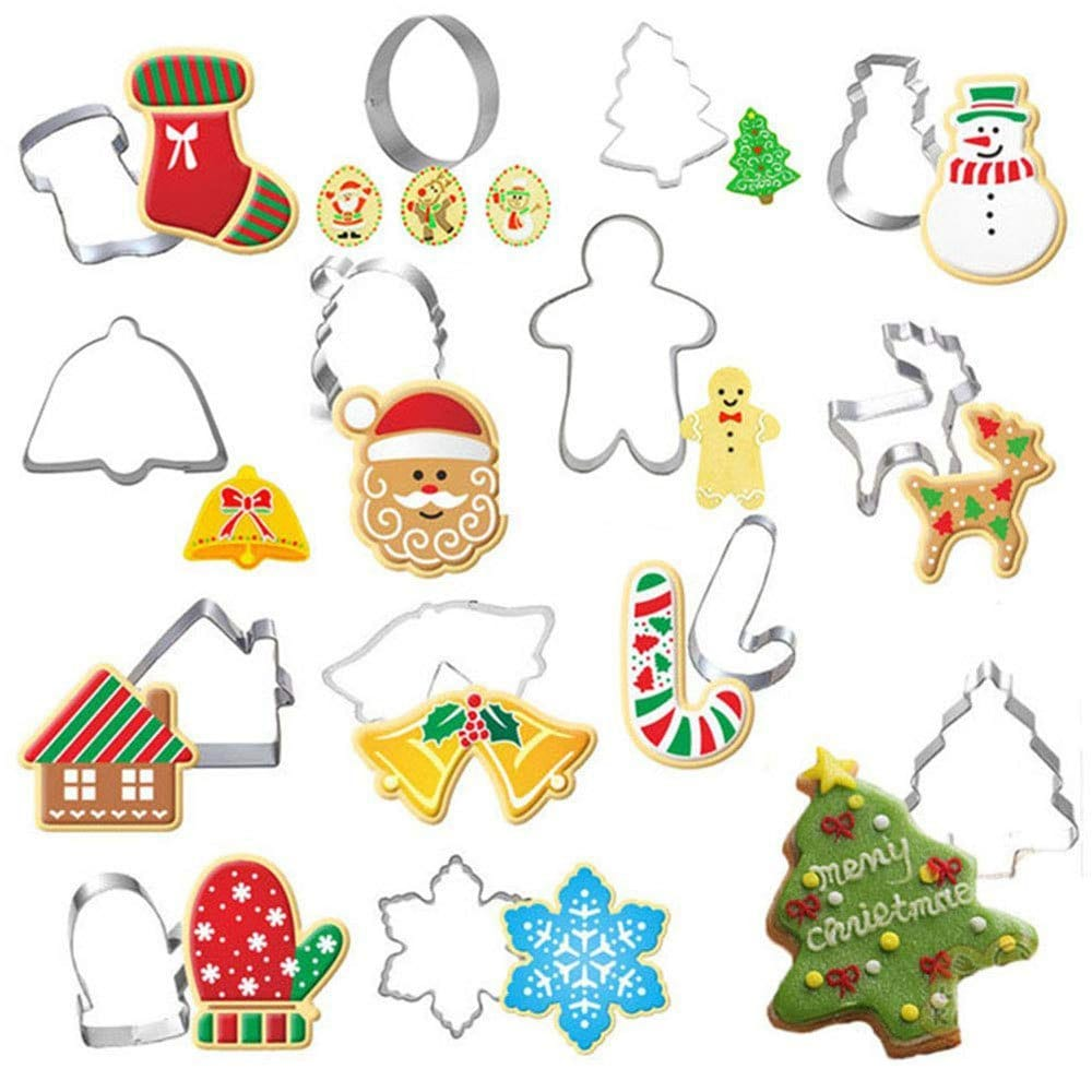 2019 14pcs Christmas Cookie Cutter Xmas Fondant Mold Stainless