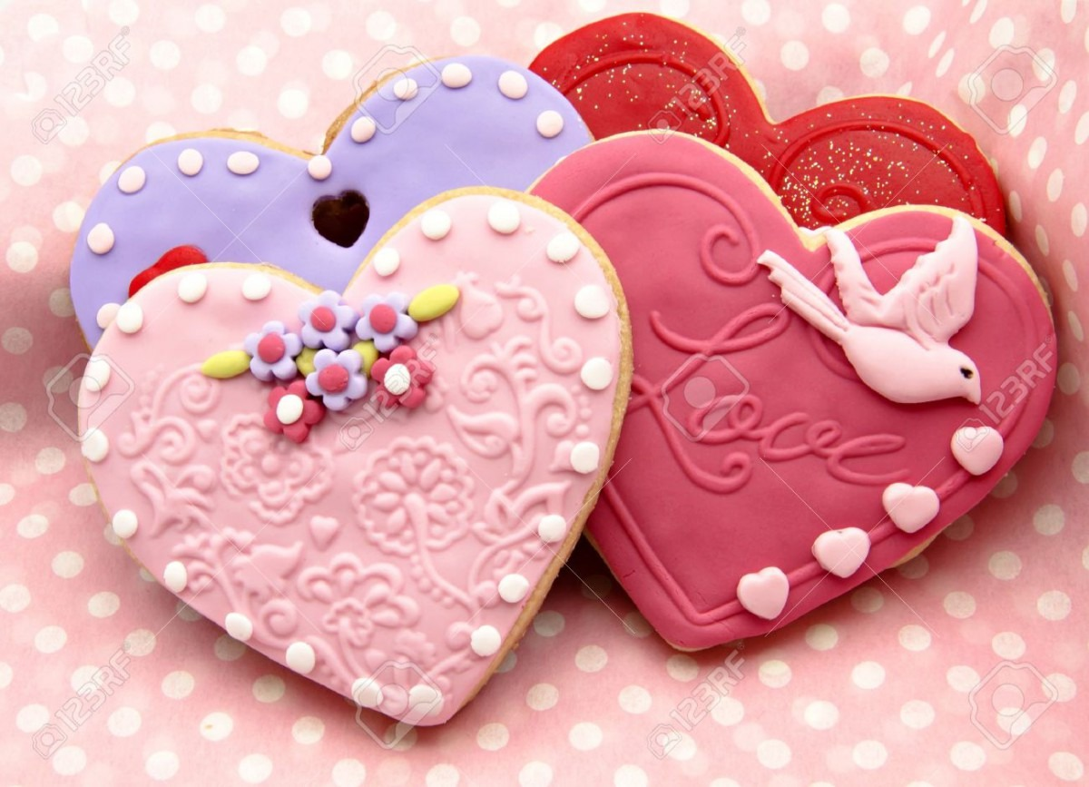 Valentine Cookies Decorated With Heart Shape Stock Photo, Picture