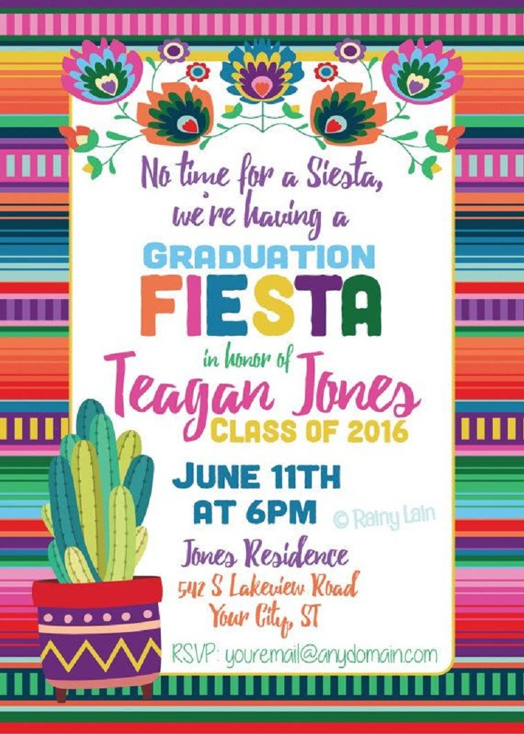 Fiesta College Graduation Party Invitations For Her
