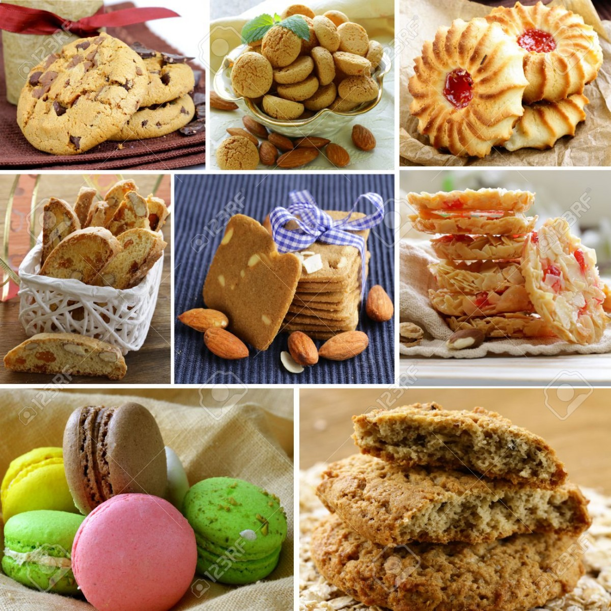 Collage Of Different Kinds Of Cookies (almond, Ginger, Oat