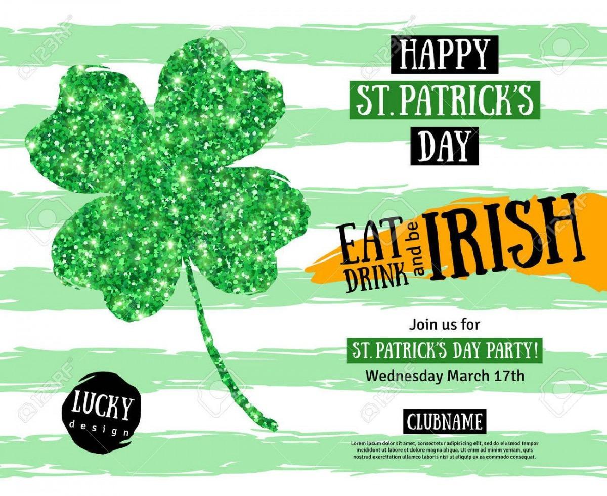 Happy St  Patrick's Day Pub Party Invitation Template  Vector