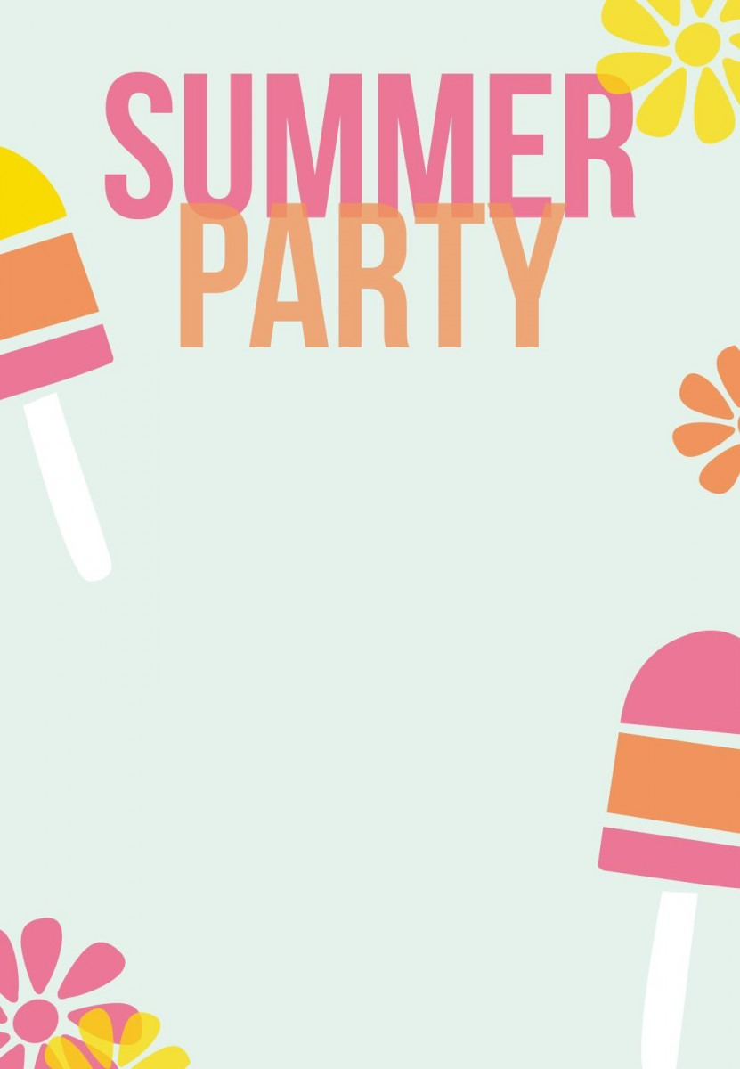 Summer Party Invitation Free Printable Striped Popsicles