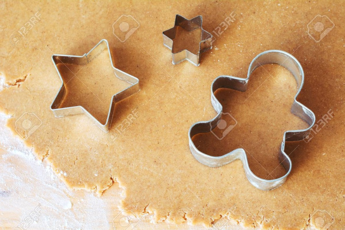 Gingerbread Cookie Dough And Cookie Cutters  Close Up View