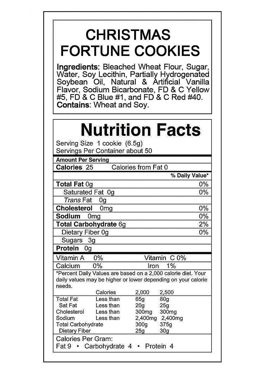 Fortune Cookie Nutrition