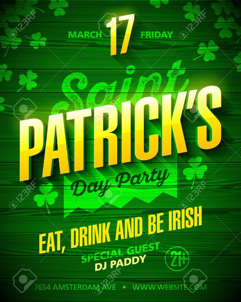 Saint Patrick's Day Party Poster Design  Eat, Drink And Be Irish