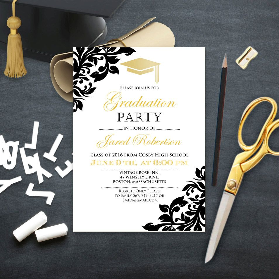Graduation Party Invitation College Printable Template Girl   Boy