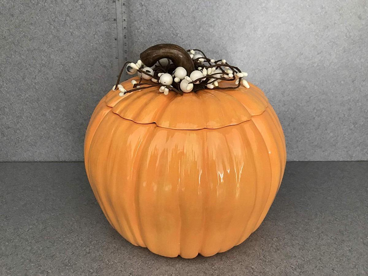 Amazon Com  Ceramic Large Orange Pumpkin Cookie Jar, Thanksgiving