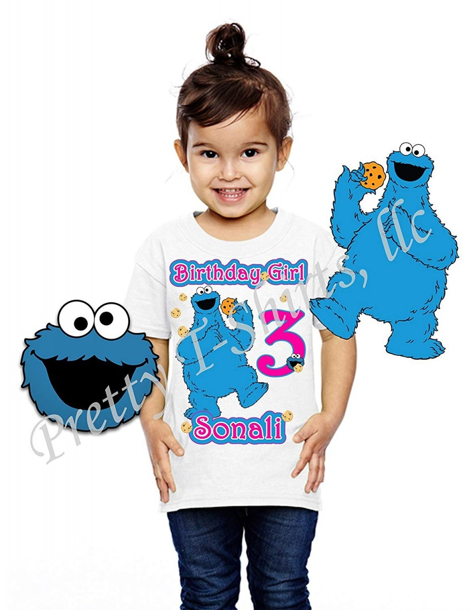 Amazon Com  Girl Cookie Monster Birthday Shirt, Add Any Name And