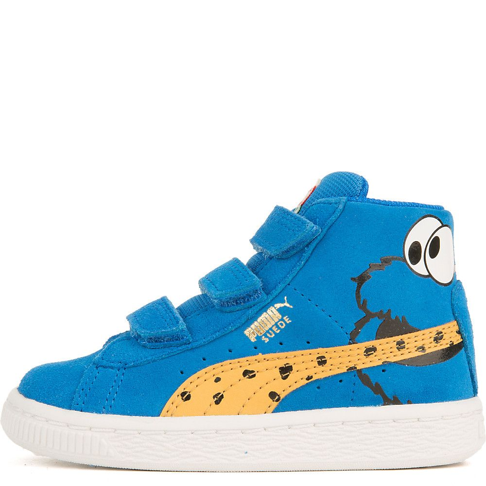 Infant Suede Mid Sesame Cookie Monster V Casual Velcro Sneaker