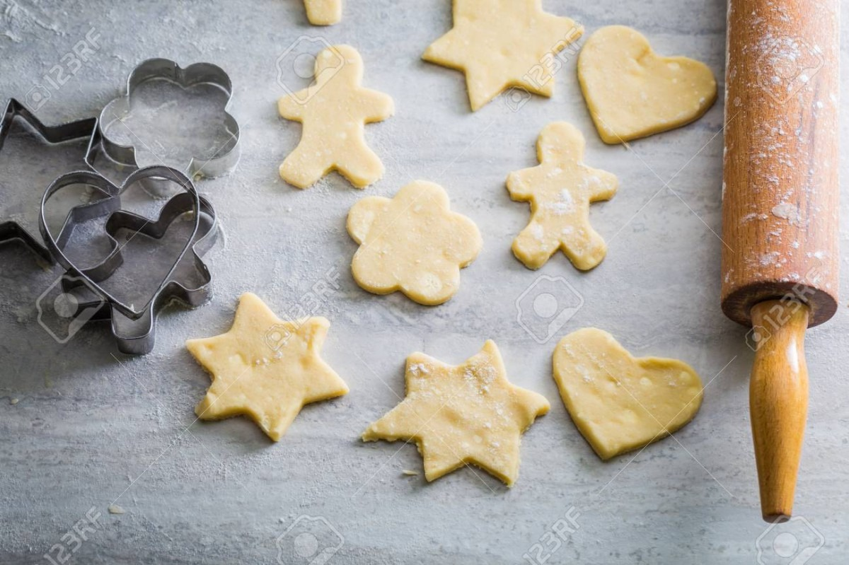 Preparation For Baking Homemade Butter Cookies On Gray Table Stock