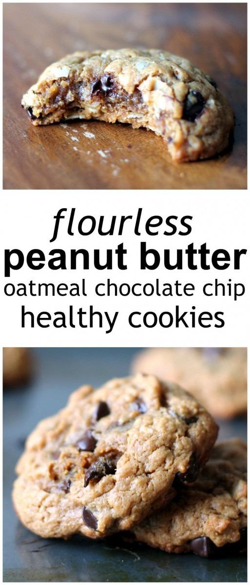 Peanut Butter Oatmeal Chocolate Chip Cookies (flourless, No Butter