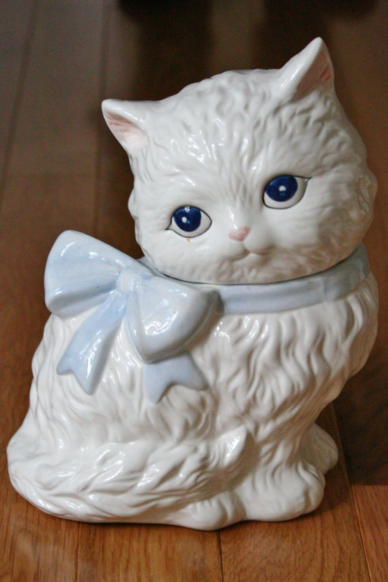 Vintage White Long Haired Cat Cookie Jar Large Blue Bow Eyes 70's