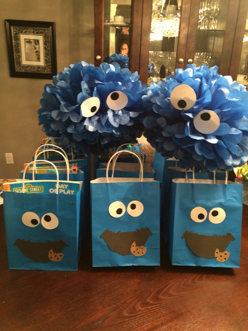 Cookie Monster Birthday Decorations And Homemade Loot Bags