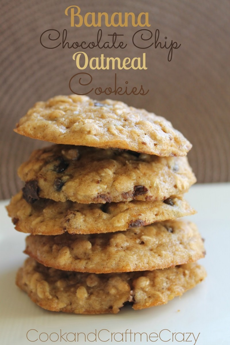 Cook And Craft Me Crazy  Banana Chocolate Chip Oatmeal Cookies