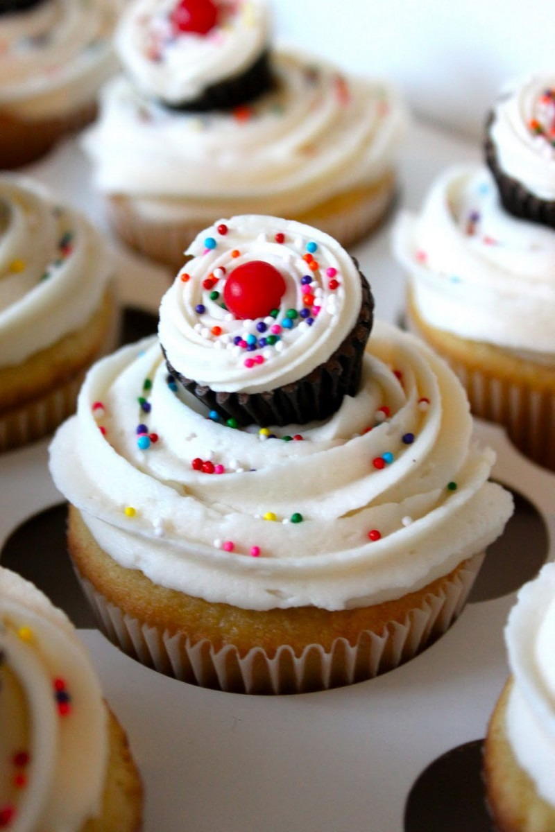 Baked Perfection  Sugar Cookie Cupcakes With Very Vanilla Frosting