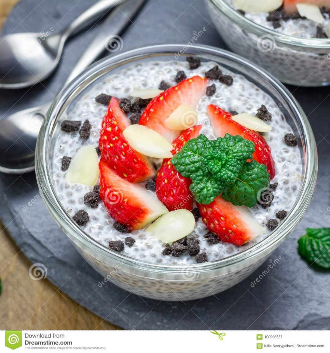 Chia Seed Pudding With Strawberries, Almond And Chocolate Cookie