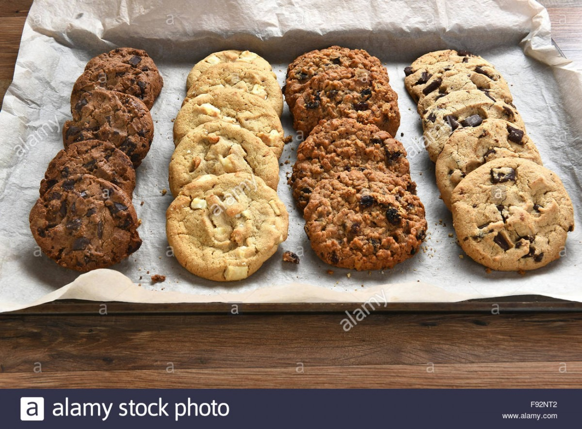 Closeup Of A Tray Of Fresh Baked Cookies, Chocolate Chip, Oatmeal