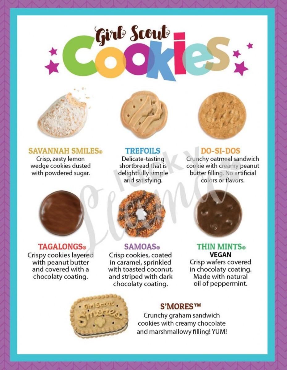 Lbb Girl Scout Cookie Menu 8 5 X 11 Printable In 2019
