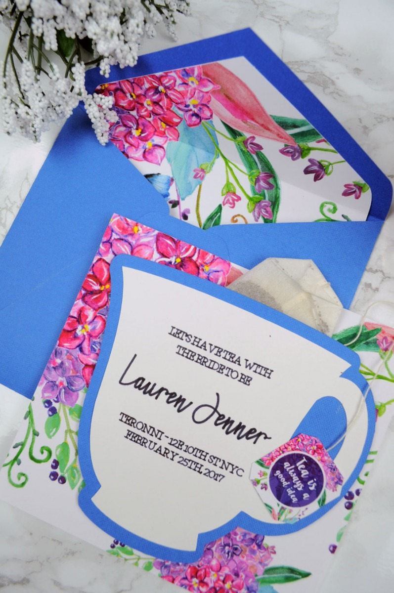 Diy Bridal Shower Tea Party Invitations