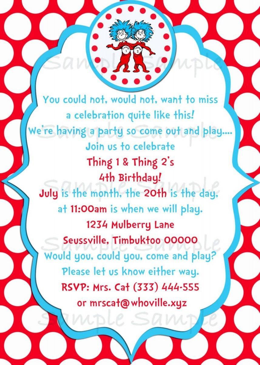 Seuss Thing 1 & Thing 2 Birthday Party Invitation Printable  $5 00