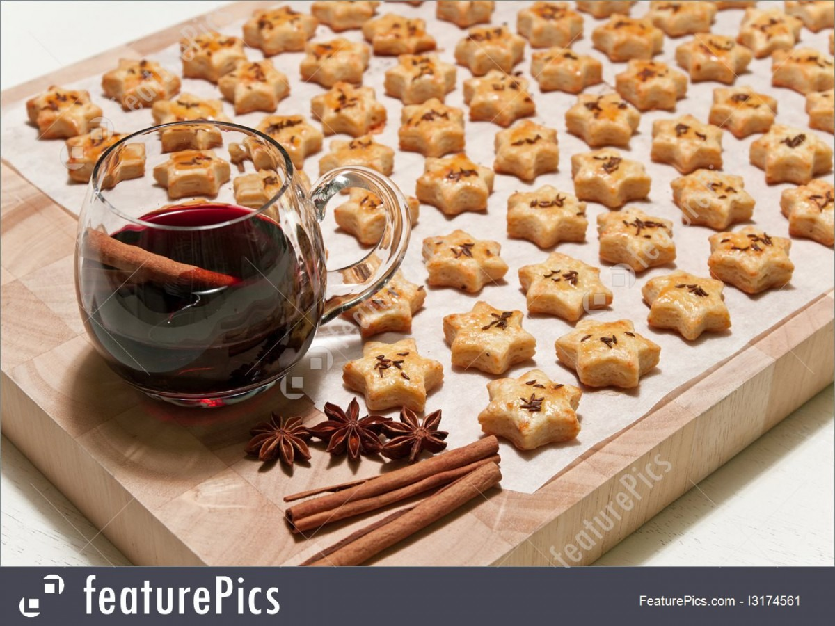 Photo Of Freshly Baked Cheese Cookies And Hot Wine