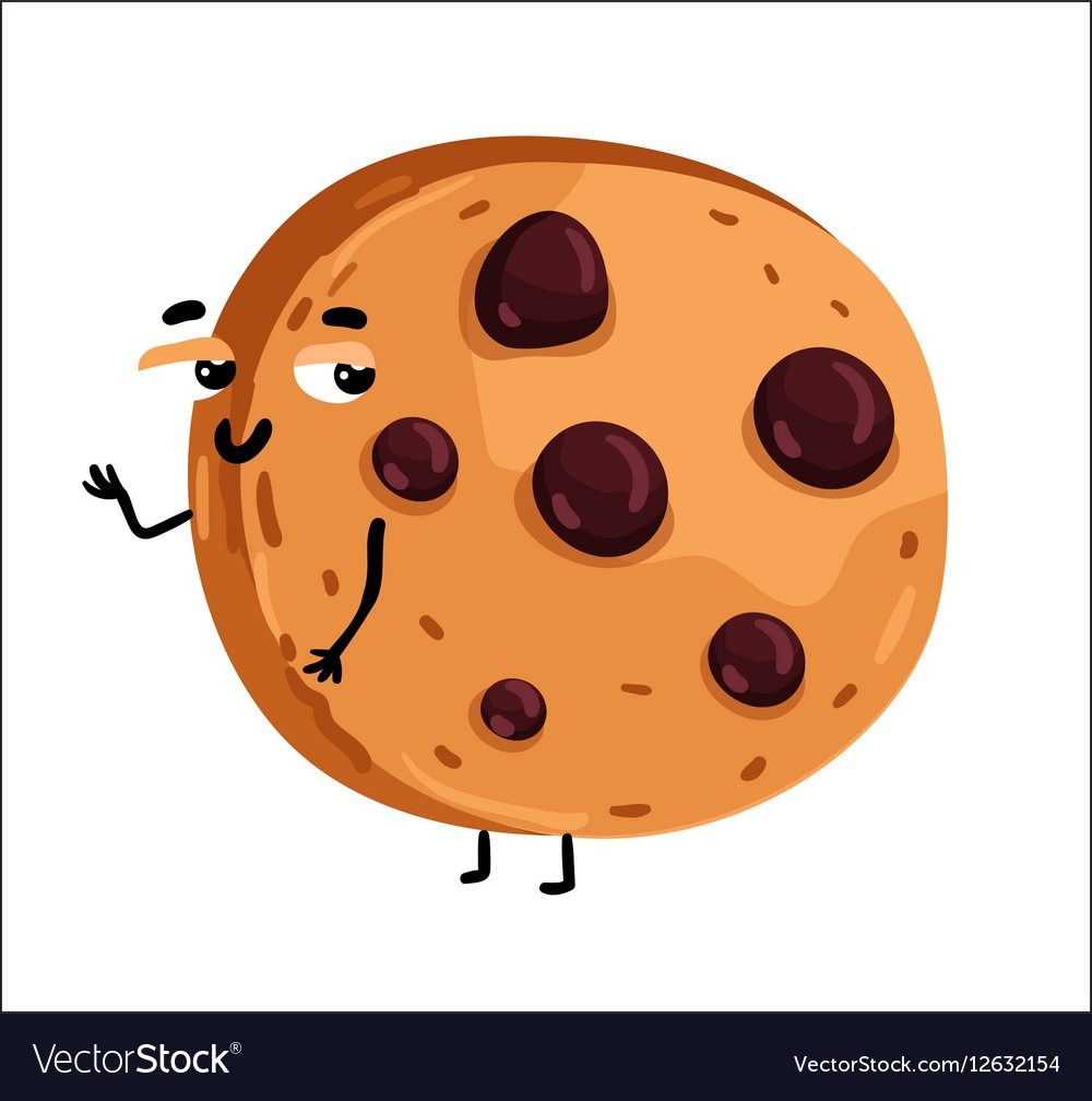 Funny Chocolate Chip Cookie Cartoon Character Vector Image