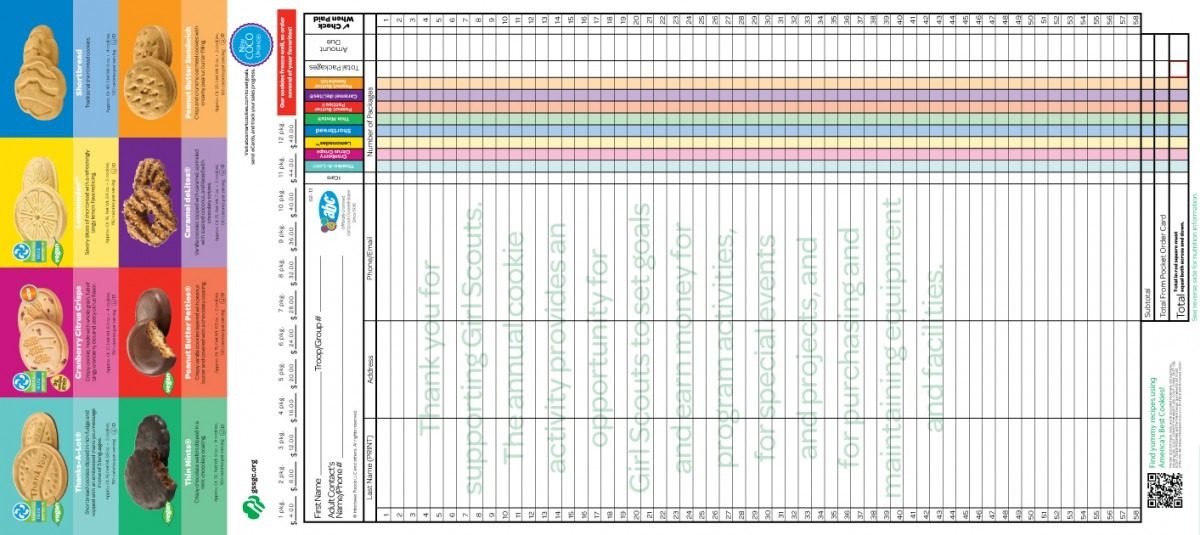 Girl Scout Cookie Order Form 2018 Card 2014 Cookies Southern