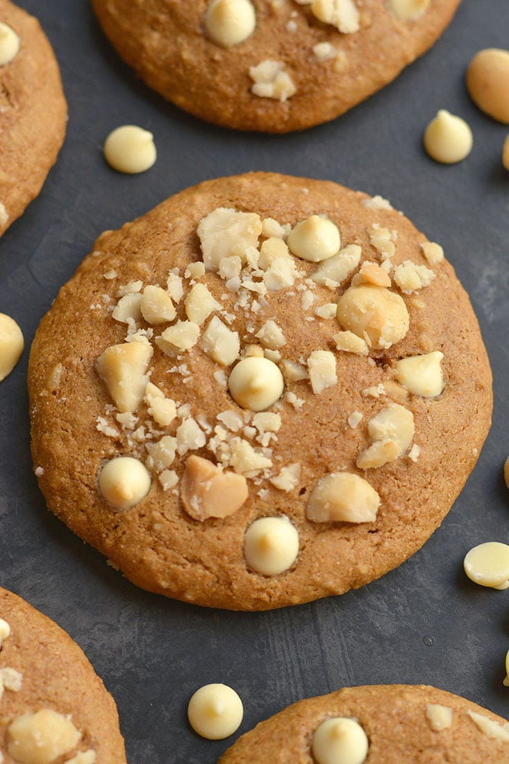 Healthy White Chocolate Macadamia Cookies (gf)