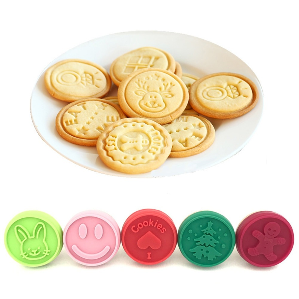 3pcs Christmas Cookie Stamp And 1 Stick Fondant Cake Mold Biscuit
