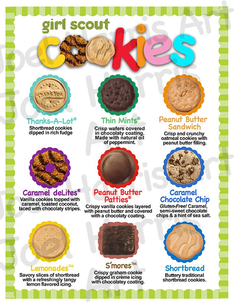 2019 Abc Girl Scout Cookie Price List Gs Cookie Booth Menu 8 5