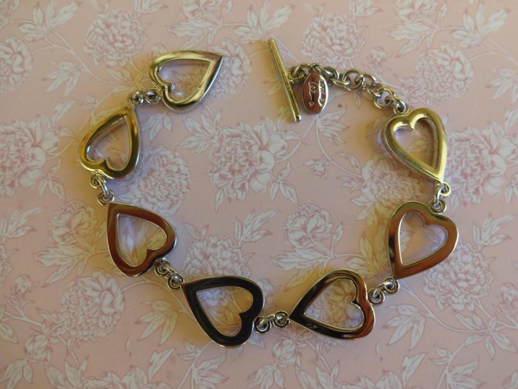 Vintage Cookie Lee Bracelet, Silver Heart Bracelet, T Bar Bracelet