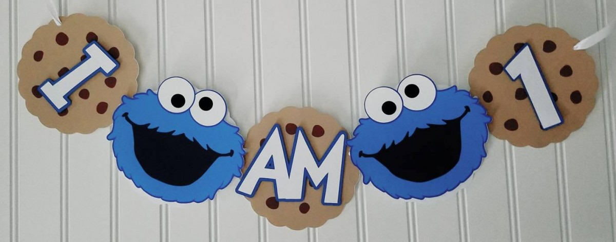 Boy Cookie Monster Name Banner Cookie Monster Birthday