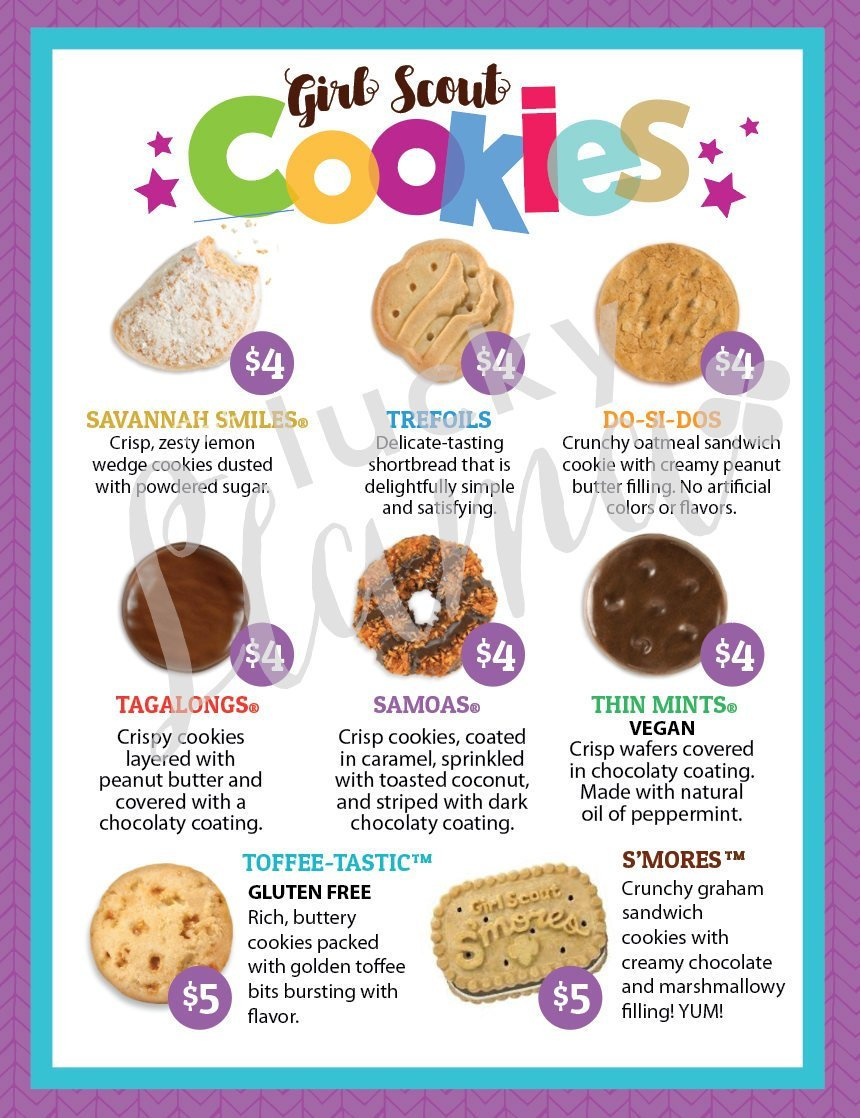 Lbb Girl Scout Cookie Menu With Prices 8 5 X 11 Printable