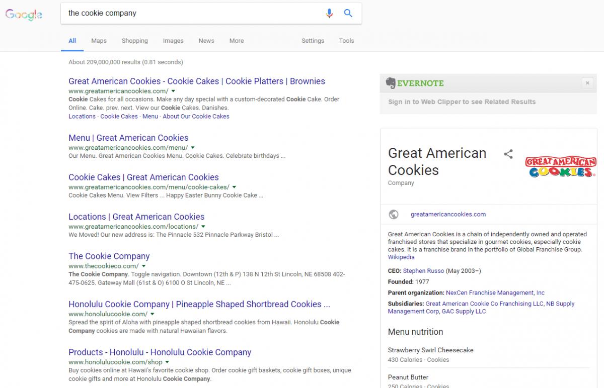 Great American Cookie Company Menu