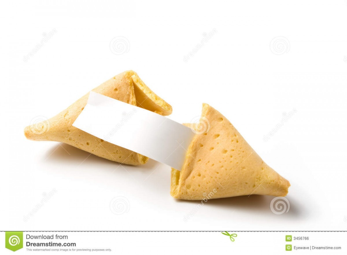 Isolated Broken Fortune Cookie Stock Photo