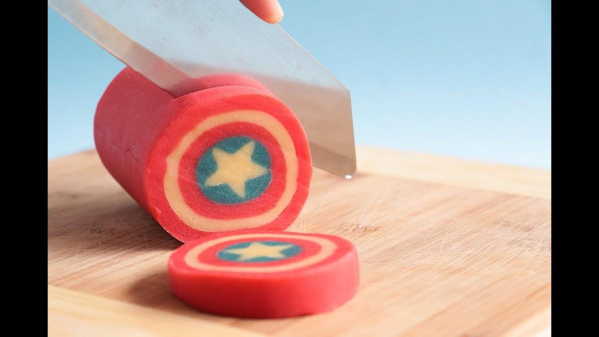 Captain America Shield Cookie Log