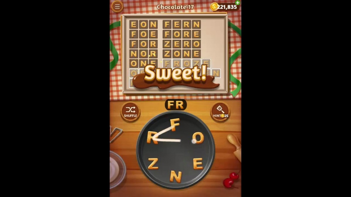 Word Cookies Chocolate Pack Level 17 Answers