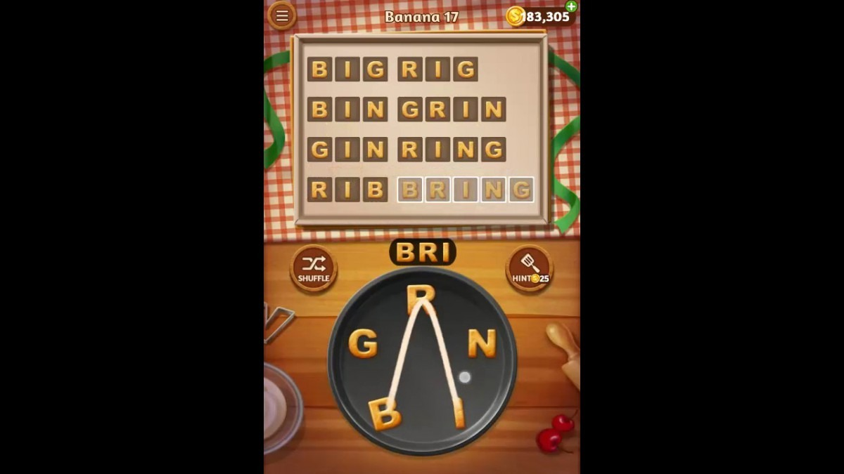 Word Cookies Banana Pack Level 17 Answers