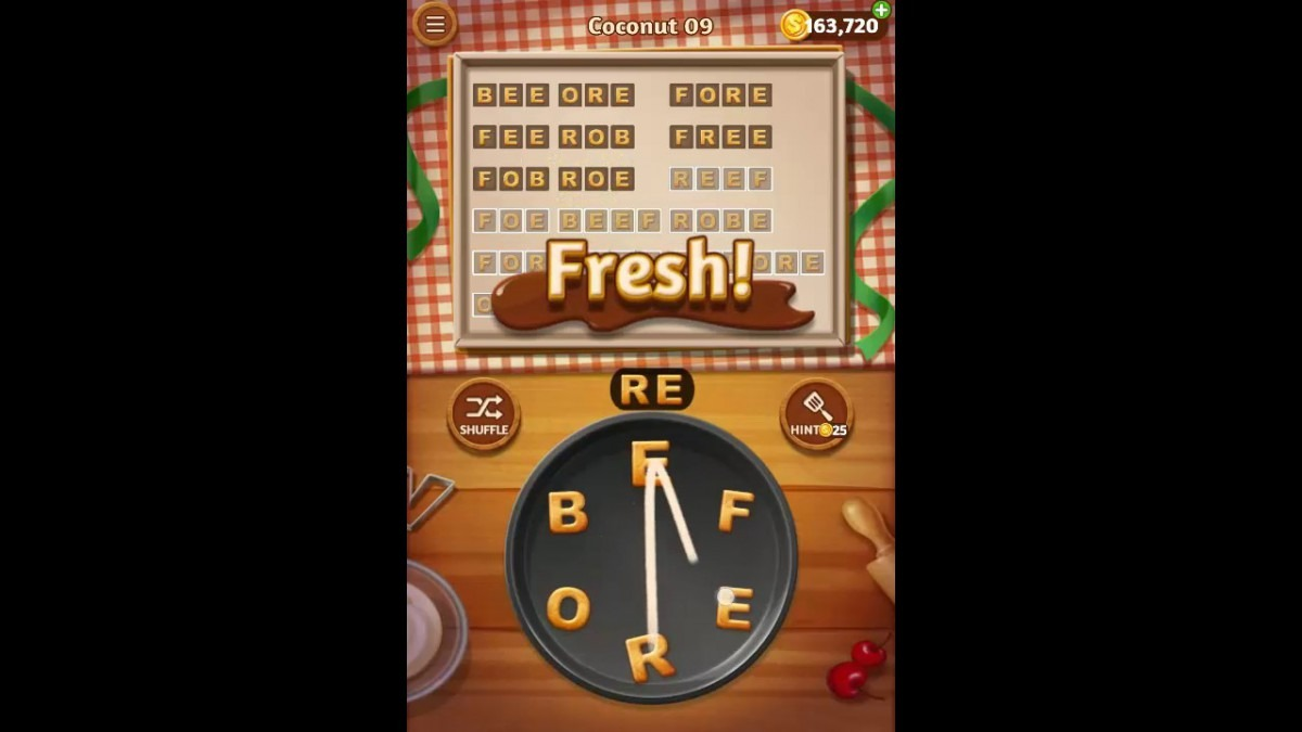 Word Cookies Coconut Pack Level 9 Answers