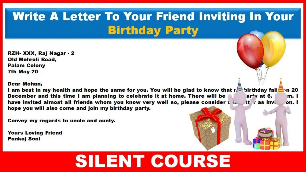 Write A Letter To Your Friend Inviting Him To Your Birthday Party