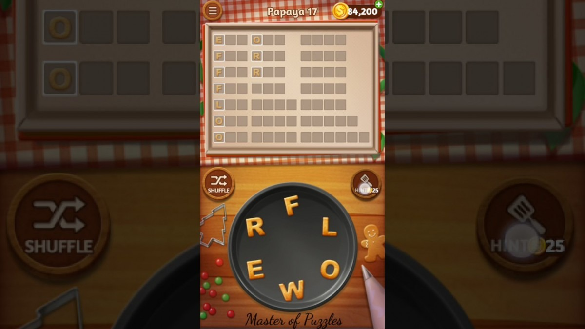 Word Cookies Papaya Level 17 Star Chef Solved