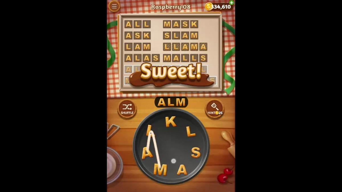 Word Cookies Raspberry Pack Level 8 Answers