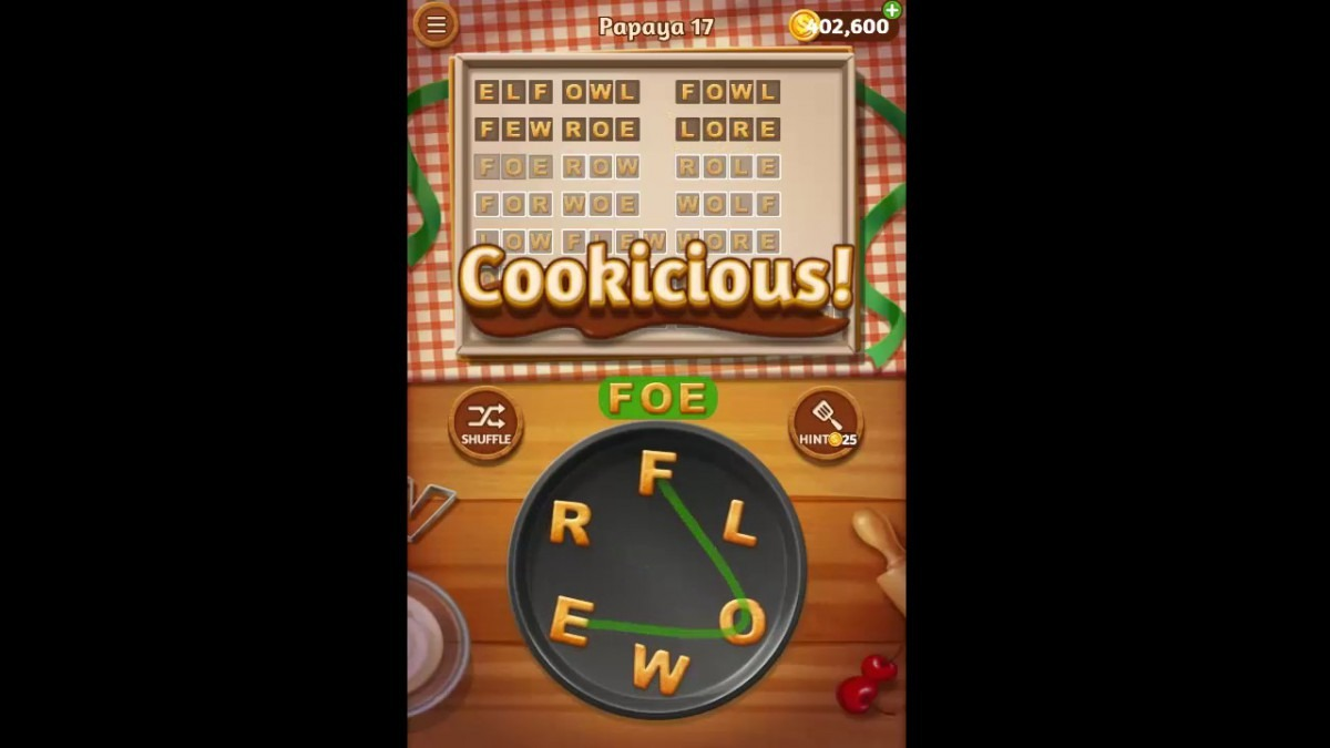 Word Cookies Papaya Pack Level 17 Answers