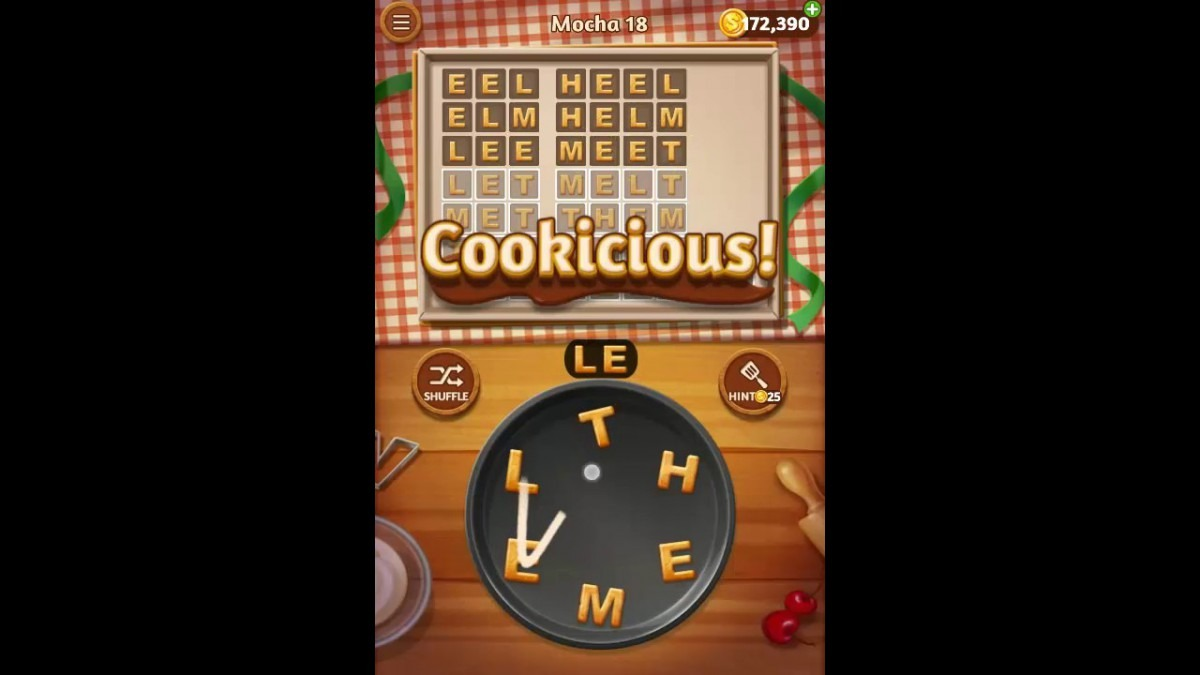 Word Cookies Mocha Pack Level 18 Answers