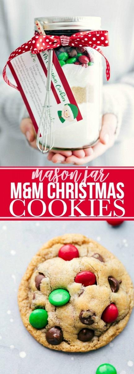 Mason Jar Gift  M&m Christmas Cookies {free Printable}