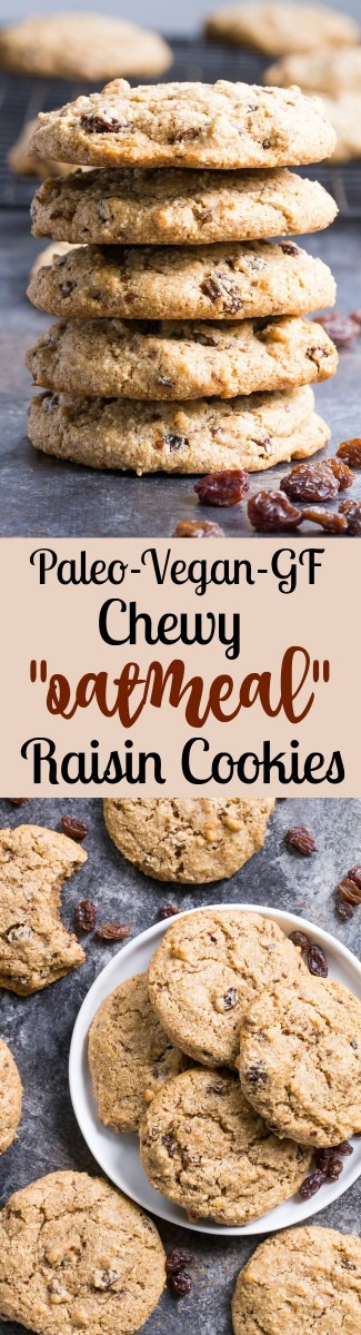 Paleo  Oatmeal  Raisin Cookies {vegan, Gf, Df}