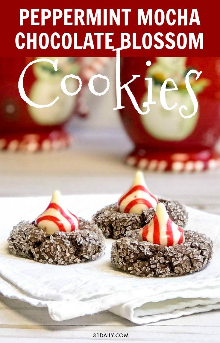 Peppermint Mocha Chocolate Blossom Cookies
