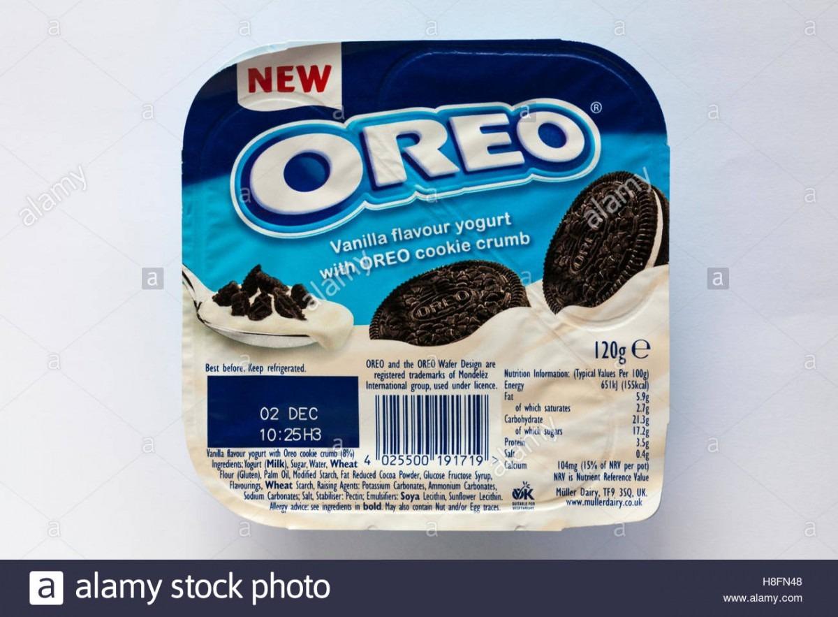 Pot Of New Oreo Vanilla Flavour Yogurt With Oreo Cookie Crumb