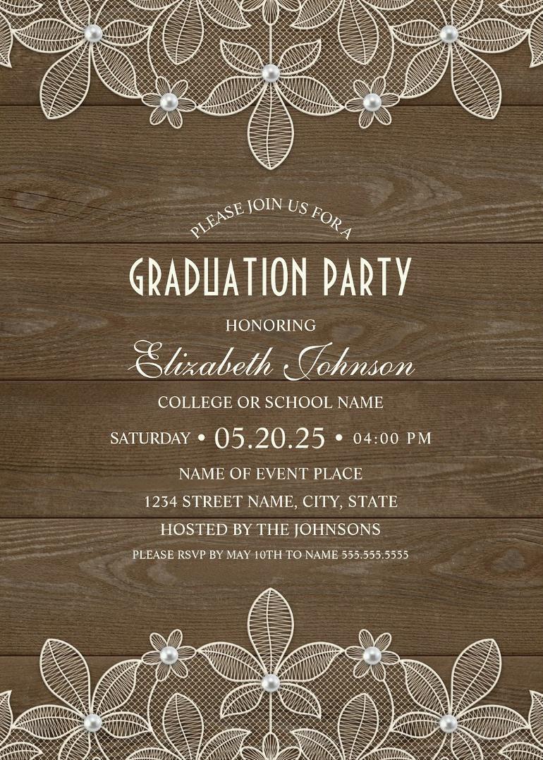 Rustic Wood Graduation Party Invitations Unique Lace Grad Party